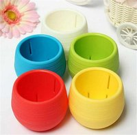 Wholesale Mini Candy Colourful Round Plastic Plant Flower Pot Home Office Decor Desktop Planter