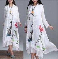 Wholesale Women Long Sleeve Plus Size Cotton Linen Sunscreen coat Women vintage floral print Loose thin white Long maxi Coat Tops