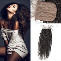 Cheap Brazilian Human Hair Silk Base Closure 4*4 Kinky Curly Middle Free 3 Part Silk Base Closure Brazilian Virgin Hair