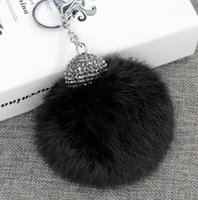 Wholesale 10cm PC Fluffy Real Rabbit Fur Pom Poms Ball Keychain Keyring Bag Charm Pendant
