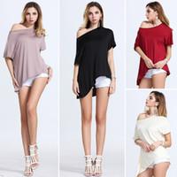 cotton dress materials - 2016 Sexy T Shirt Trendy Off Shoulder Women T Shirt Buttons Top Comfortable Cotton Material