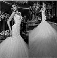 Wholesale Elegant Backless Mermaid Lace Wedding Dresses Vestido De Noiva sexy Spaghetti Straps Sleeveless Wedding Dress Bridal Dress