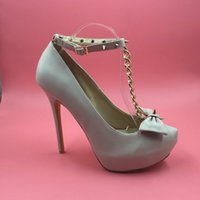 adhesive images - 2016 Beige Real Image Bridal Wedding Shoes Chains T Straps Bow Rivets Sexy Ladies Party Shoes Zapatos Mujer Custom Made Plus Size Party