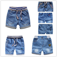 Wholesale New Summer Kid Clothing Boys Children Soft Denim Shorts Jeans Pants Blue Fashion Hot Trousers Cartoon Embroidery Stripe Car Badge Dinosaur