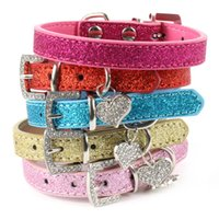 amazon pets - Amazon Hot Selling Bling Crystal Pendant Leather Pet Dog Collars Puppy Cat Choker Necklaces Four Size Avaliable