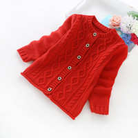 Wholesale new autumn and winter children s clothing girls solid color cotton sweater cotton girls cardigans b8012