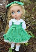 Wholesale DY018 quot Disyne doll Clothes Green Gird Dress and Hair Bow Set for inch doll for retail