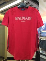 Wholesale 2016 Balmain Paris Mens Black T Shirts Homme Short Sleeve Tee Shirts Brand Clothing NWT M L XL XXL