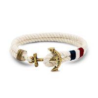 beach bracelets men - 2016 Handmade Man Alloy Cotton Rope Friendship Rope Nautical Anchor Summer Beach Charm Bracelet