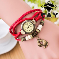 big east sports - Fashion Retro Big Small Foots Pendant Leather Weave Lady Bracelet Quartz Wrist Watch Student Knitted Hand Chain Girls Jewelry ZJ N31