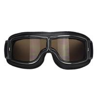 Wholesale 2016 Hot Sale Black Frame Vintage Harley Style Motorcycle Goggles Pilot Motorbike Goggles Retro Jet Helmet Eyewear color lens