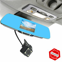 Wholesale Dual Lens Anytek T6 Car DVR Rearview Mirror Camera Novatek Full HD P quot LCD Video Recorder Degree Rear Camera