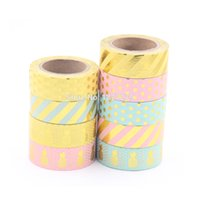Wholesale New Gold Foil Pineapple Printing Washi Tape Kawaii Decorative Scrapbook Tools Cute Paper Crafts Washi Paper set10m Adhesive