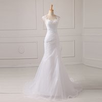 Wholesale 2016 Scoop Organza Mermaid Wedding Dresses With Lace Pleat Cap Sleeve Court Train Bridal Gowns