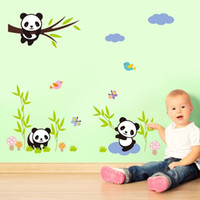 abstract tree designs - 100pcs Cute Cartoon Panda Tree butterfly nursery decor wall stickers Kids room decor wall decals girls gift ZY1310s baby room decor