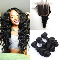 virgin indian hair remy hair - 100 Indian Virgin Hair Weave Weft quot quot Hair Bundles pc Lace Closure Human Hair Extension Remy Hair Loose Wave Natural Color A
