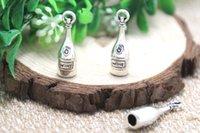 antique wine bottles - 12pcs Wine Bottle Charms Antique Tibetan silver D Wine Bottle Charms pendants x8mm