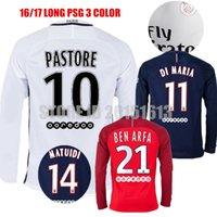 Wholesale 2017 Third PSG Long Jersey Sleeve rd Psg Soccer Jerseys Shirts CAVANI Di Maria Verratti T SLIVA Ben Arfa Pastore Matuidi Football Kits