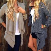 argyle products - New products Women Loose Knit Cardigan Coats Autumn Winter Fashion Jacket Long Sleeve Lady Leisure Irregular Sweater Coat Plus Size New