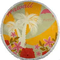 beautiful beach towels - Beach Towel_59 inches Beautiful Scene Printed Round Microfiber Towel for Bath Swim