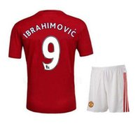 Wholesale Thai Quality rooney Soccer Jersey FC Ibrahimovic mata home red and away blue football shirts