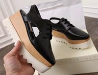 Wholesale Stella Elyse Cutout Platform Oxford Platform Shoes Lace Up Wedge Leather Wedge Heel Square Toe Women s Sandals Shoes