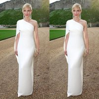 Wholesale Cheap Simple Sheath Formal Celebrity Gowns White One Shoulder Floor Length Ruffles Evening Party Dress New Arrival Red Carpet Gowns