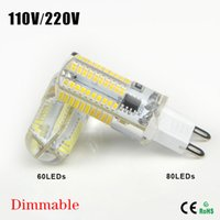 Wholesale 5Pcs Dimmable Mini G9 W W High End Silicone Body LED lamp AC V V SMD LEDs light Bulb For Crystal Chandelier Drop