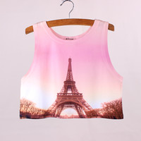 Wholesale Eiffel Tower print girls crop tank New arrival women s summer dress design lady cropped tee fashion clothes mix order factory