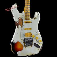 Wholesale 10S Custom Shop ST W Floyd Rose Heavy Relic White Lightning Olympic White Over Tone Sunburst FRET Electric Guitar