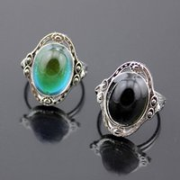 Wholesale fashion Magic Stone Vintage Retro Color Change Mood Ring Oval Emotion Feeling Changeable Ring Temperature Control Size adjustable jz