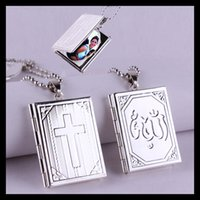 bible box - HOT Fashion Sterling Silver Plated Bible Cross Magic Box Locket Pendant Necklaces With Beads Chain