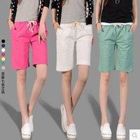 Wholesale Lace Drawstring Shorts - 2016 New Summer Style Cotton Candy Colored Female Loose Linen Shorts Casual Women Fashion Elastic Waist Lace Shorts Feminino
