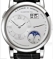 Wholesale top quality ROLE Men s Watch Grande Lange Lange Leather Strap Moon Phase Automatic Mechanical watches X vauel