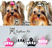 dog grooming bows - New Pet Accessories resin crown clip Dog Bows Dog Grooming Hair Bows Doggie Pet Gifts hair clip Xi shi Yorkshire dog hair