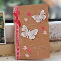 best greeting cards - White lace pink silk ribbon white butterfly kraft paper birthday greeting cards best wishes greeting cards