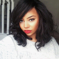 bang light - Short Bob Wavy Human Hair Front Lace Wigs With Side Bangs For Black Women Unprocessed Brazilian Full Lace Bob Body Wave Wig