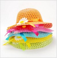 beach transportation - Discount sunflower flowers children s hat Handbags suit Girls straw Sun hat Beach hat Free transportation