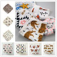 Wholesale Baby Handkerchief Bibs Infant Face Bath Towels Layers INS Popular Newborn Muslin Cotton Gauze Cartoon Fox Cute Animal Robes Patterns
