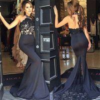 Cheap 2016 Newest Custom made Black Evening Dress with Halter Neck Mermaid Satin Lace Applique Backless Sexy Prom Dress Vestidos Arabic Dress