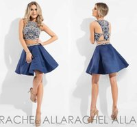 Wholesale 2017 New Rachel Allan Two Pieces Homecoming Dresses Jewel Neck Crystal Beaded Navy Blue Pink White Short Cocktail Party Gowns