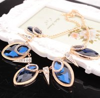 beaded pendant patterns - X Winter New Pattern Drip Form Sapphire Crystal Leaf Necklace Korean Best Sellers TaoBao Pendant