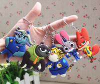 Wholesale 2016 Zootopia figures keychain ring toys Cartoon Animal the Rabbit Judy Hopps Nick Fox pendant accessories gifts for kids child