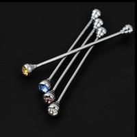 Wholesale Luxury Silver Rhinestone Head Mens Tie Collar Pin Shirt Skinny Tie Shirt with Collar Bars Jewelry