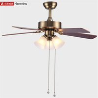 Wholesale New Hot Bronze color wood iron chinese Bronze color modern quiet ceiling fans with E27 lights cm shipping without lamps