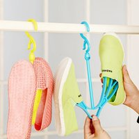 Wholesale 2pcs Multifunctional thick shoe drying rack dryer movable plastic hanging shoes rack organizer home storage blue yellow