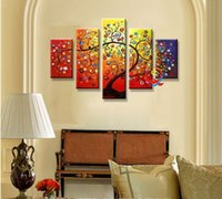 Wholesale 5 spell pure hand painted oil painting abstract tree painting the sitting room the bedroom adornment make a fortune