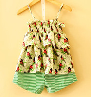 Wholesale Spring Blouse Flower - New 2016 summer kids Girls birds ruffle tutu sling blouse flower slip dress + boys stripe shorts pp pants clothing set two-piece set