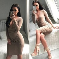 Wholesale 2016 New Fashion Women Sexy Summer Autumn Vestidos DressesSexy deep V collar dress long sleeve dress Party bodycon Bandage Clubwear