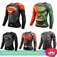 Wholesale Fitness Long Sleeve shirts Sport Fitness Compression Shirt Men Superman Bodybuilding Long Sleeve D T Shirt Gym Crossfit Running Tops